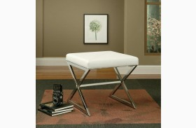 White White Vinyl Ottoman With Metal Legs 501063