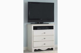 Spring Rose Soft White TV Chest