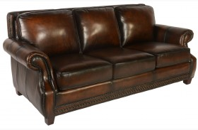 Prato Black & Tan Leather Sofa