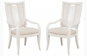 Siesta Sands White Sand Splat Back Arm Chair Set Of 2