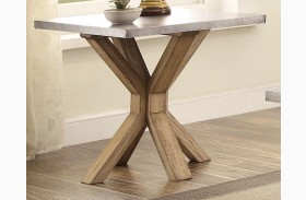 Luella Cool Weathered Oak Zinc Top End Table