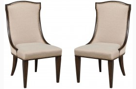 Grantham Hall Deep Coffee Upholstered Side Chair Set Of 2