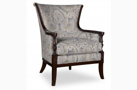 Bristol Linen Carved Wood Accent Chair