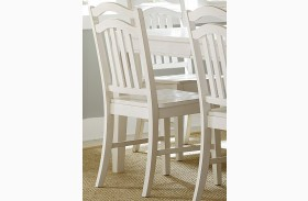 Summerhill Rubbed Linen White Slat Back Side Chair Set of 2
