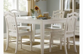 Summerhill Rubbed Linen White Extendable Rectangular Leg Dining Table