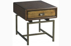 Zodiac Warm Brown Acacia Rectangular Drawer End Table