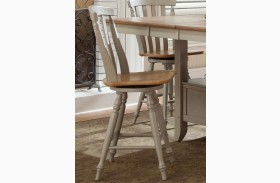 Al Fresco Driftwood and Taupe Slat Back Swivel Counter Chair