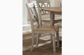 Al Fresco Driftwood and Taupe Double X Back Side Chair Set of 2