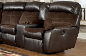 Berneen Coffee RAF Reclining Loveseat with Console
