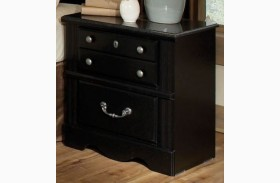 Madera Ebony Black Marbella Top Nightstand