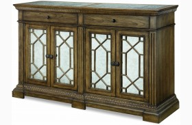 Renaissance Waxed Oak Credenza With Marble Top