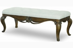 Renaissance Waxed Oak Upholstered Bench