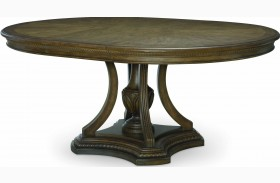 Renaissance Waxed Oak Extendable Round Dining Table