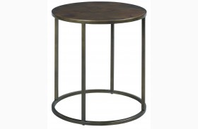 Sanford Acid Washed Copper Top Round End Table
