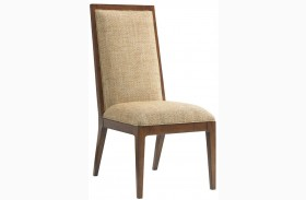Island Fusion Natori Gold Geometric Fabric Slat Back Side Chair