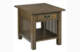 Canyon Ii Mid Tone Oak Rectangular Drawer End Table