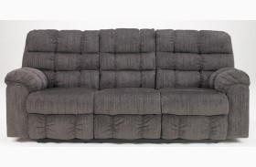 Acieona Slate Reclining Sofa with Drop Down Table