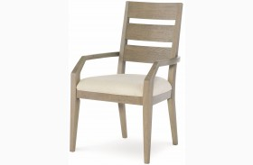 High Line Greige Ladder Back Arm Chair Set of 2