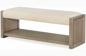 High Line Greige Upholstered Bench