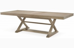 High Line Greige Extendable Trestle Dining Table