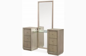 High Line Greige 6 Drawer Vanity with Mirror