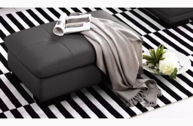625 Grey Italian Leather Ottoman
