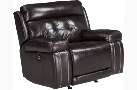 Graford Walnut Power Recliner With Adjustable Headrest
