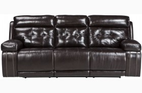 Graford Walnut Power Reclining Sofa With Adjustable Headrest