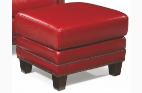Prescott Supple Red Leather Ottoman