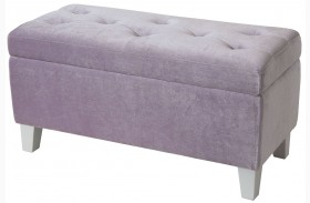 Young Parisian Lavender Velvet Storage Bench