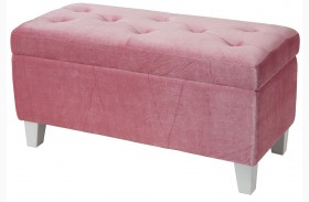 Young Parisian Pink Velvet Storage Bench