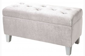 Young Parisian White Velvet Storage Bench