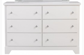 Marilyn Shiny White 6 Drawer Dresser
