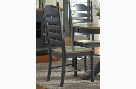 Springfield II Honey and Black Ladder Back Side Chair Set of 2