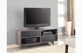 Distressed Grey and Black TV Stand