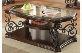 Mahogany Ornate Metal Coffee Table