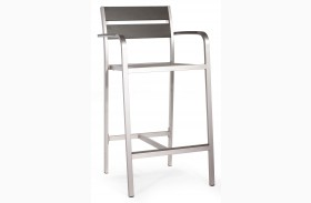 Megapolis Brushed Aluminum Bar Armchair Set of 2