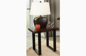 703427 Vintage Brown & Black End Table