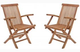 Regatta Natural Folding Arm Chair Set of 2