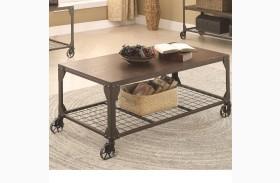703908 Wood and Metal Coffee Table