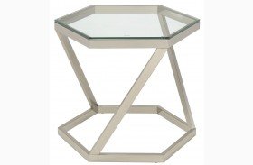 Nickel Glass Top End Table