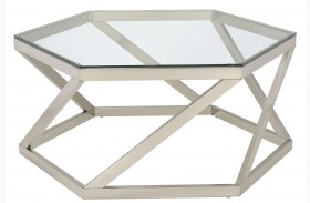 Nickel Glass Top Coffee Table