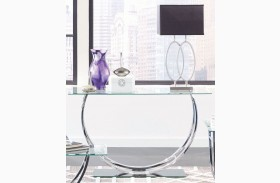 Chrome Glass Top Sofa Table