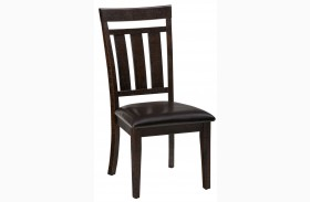 Kona Grove Rustic Chocolate Upholstered Slat Back Dining Chair Set of 2