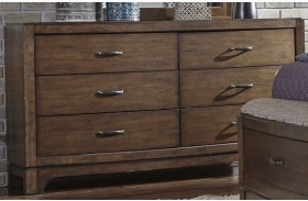 Avalon III Pebble Brown 6 Drawer Dresser