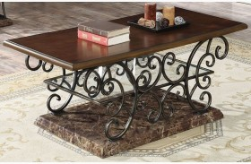 Merlot and Gold Brushed Bronze Coffee Table