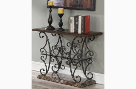 Merlot and Gold Brushed Bronze Sofa Table