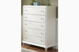 Stardust Iridescent White 5 Drawer Chest