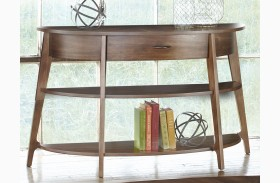 Landon Oval Blonde Demi-Lune Sofa Table