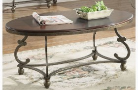 Cherry Brown and Antique Pewter Coffee Table